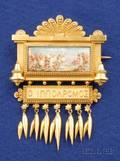 Etruscan Revival 18kt Gold and Painted Porcelain Brooch Eugene Fontenay France