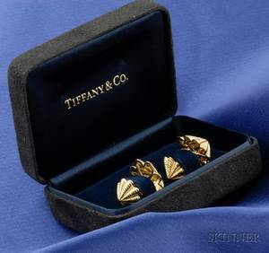 18kt Gold Cuff Links Tiffany  Co Schlumberger