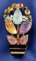 14kt Gold and Gemset Flowerpot Brooch