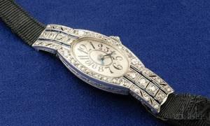 Art Deco Platinum Diamond and Sapphire Watch