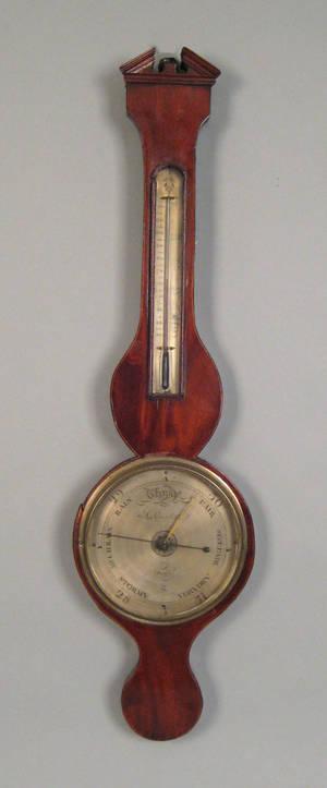 Victorian mahogany banjo barometer by L Cerletti 19th c