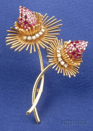 18kt Gold Ruby and Diamond Thistle Brooch