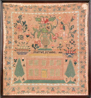 Reading Pennsylvania silk on linen sampler dated 1828 and wrought by Harriet Arnold
