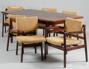 Jens Risom Dining Table and Six Chairs