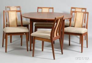 MidCentury Modern Dining Table and Six Chairs