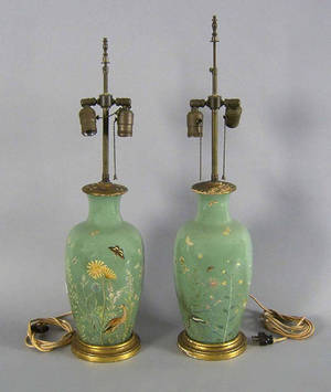 Pair of reverse painted table lamps