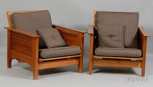 Pair of Arts  Crafts Style Armchairs