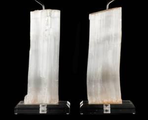Pair of Rock Crystal Quartz  Lucite Table Lamps