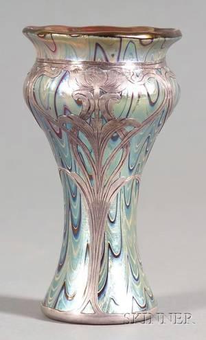 Art Nouveau Silver Overlay and Art Glass