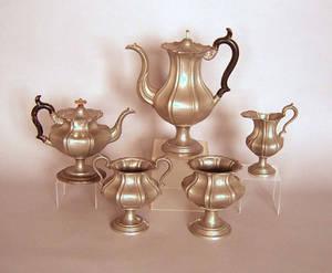 Five piece pewter tea service by James Dixon  Sons