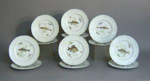 Set of twelve ironstone fish plates by Simpsons Ltd