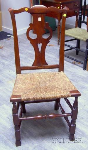 Country Chippendale Cherry Side Chair with Spanish Feet