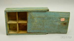 Bluepainted Pine Spice Box with Sliding Lid
