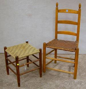 Wooden Slatback Side Chair with Woven Splint Seat and a Shakertype Maple Footstool with Woven Tape Seate