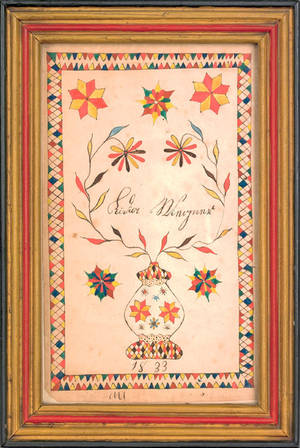 Southeastern Pennsylvania ink and watercolor fraktur bookplate dated 1833