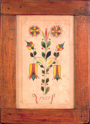 Southeastern Pennsylvania ink and watercolor fraktur bookplate dated 1829