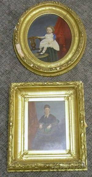Two Framed Mixed Media Portraits of a Lady and a Child