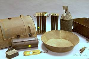 Group of Assorted Tin and Metal Lighting and Domestic Items