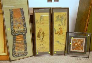 Pair of Framed Japanese Woven Silk Panels and Two Framed Chinese Embroidered Textile Panels