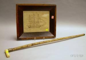 Framed Pen and Ink on Paper Sailing Ship Portrait and a Carved Ivoryhandled Shark Vertebrae Cane