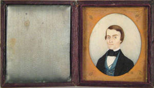 American miniature watercolor on ivory portrait of a gentleman 19th c