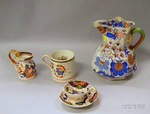 Gaudy Dutch Mug Cup and Saucer Creamer and Jug