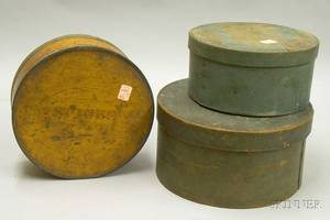 Two Painted Wooden Covered Pantry Boxes and a Metalbound Round Wooden Covered Pantry Spice Box with Eight Inte