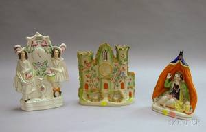 Staffordshire Figural Spill Vase and Two Figural Groups
