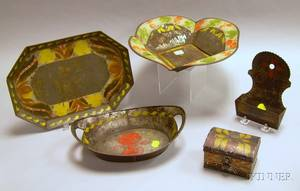 Five Pieces of Assorted Decorated Tole Table and Wall Items