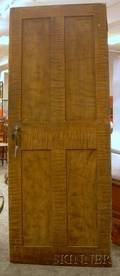 19th Century Faux Tiger and Birdseye Maple Grainpainted Paneled Wooden Door