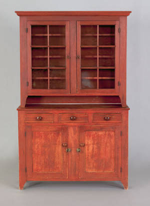 Lancaster or Lebanon County Pennsylvania poplar Dutch cupboard earlymid 19th c