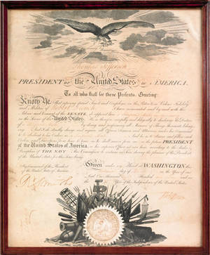 Thomas Jefferson signed military appointment