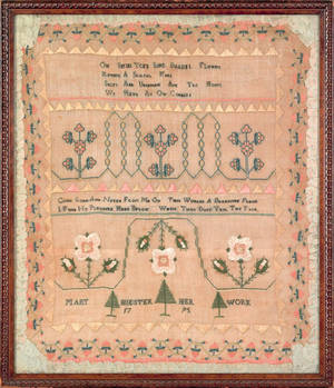 Reading Pennsylvania silk on linen sampler dated 1795 wrought by Mary Hiester