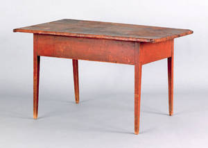 New England pine and butternut work table early 19th c