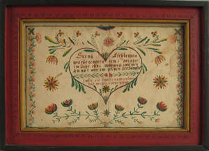 Berks or Lancaster County Pennsylvania watercolor fraktur birth certificate dated 1828 for Sarah Eschleman