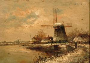 Joseph de Groot Dutch 18281899 Winter Landscape with Windmill