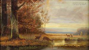American School 19th Century Deer At the Edge of a Pond Autumn Fields Beyond
