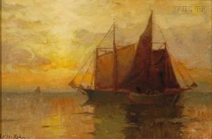 Frank Knox Morton Rehn American 18481914 Sailing Vessel at Sunset