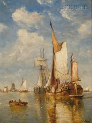 Paul Jean Clays Belgian 18171900 Sailing Vessels in a Harbor