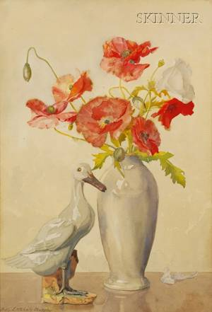 Nelly Littlehale Murphy American 18671941 Still Life with Poppies and Duck Figurine