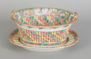 Chinese export porcelain rose medallion reticulated basket and undertray 19th c