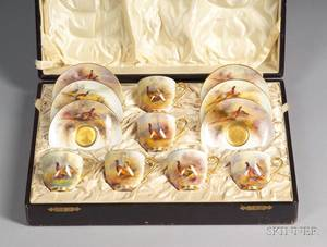 Set of Six Royal Worcester Handpainted Pheasants Decorated Porcelain Demitasse Cups and Saucers