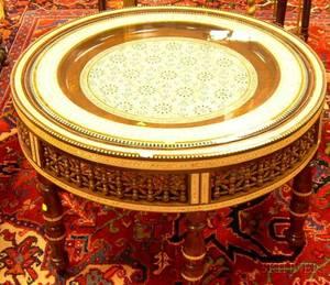 Moorish Motherofpearl and Bone Inlaid Hardwood Low Table