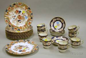 Set of Ten Copeland Transfer Gilt and Handpainted Porcelain Dinner Plates and a Set of Eight English Handpa