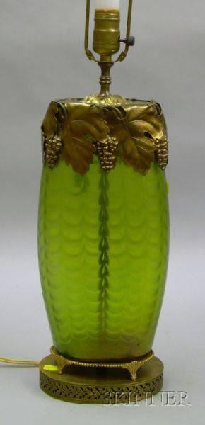 Art Nouveau Giltmetal Mounted Loetztype Iridescent Green Glass Vase Table Lamp
