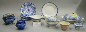 Approximately Twentythree Pieces of Mostly English Blue and White Transfer Decorate Tableware