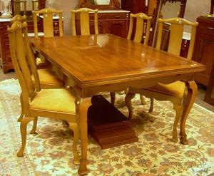 Kittinger Baroquestyle Mahogany Extension Dining Table and Set of Six Painted Side Chairs