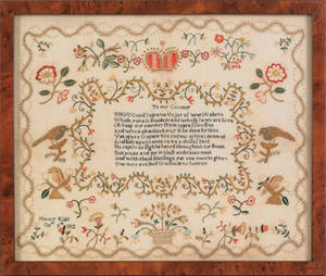 English silk  on linen sampler dated 1812