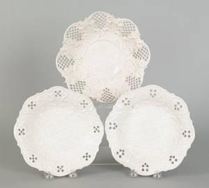 Three English salt glaze plates late 18th c