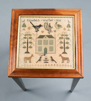 Silk on linen sampler dated 1820